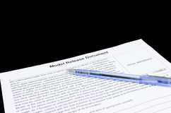 Closeup of model release document and a pen Stock Images