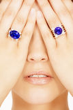 Closeup of a Model Wearing two Tanzanite Designer Rings Royalty Free Stock Photo
