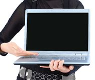 Closeup.modern business woman showing a laptop. Isolated on white royalty free stock image