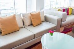 Closeup of modern furniture with pillows . Stock Photos
