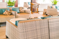 Closeup of modern furniture with pillows . Royalty Free Stock Image