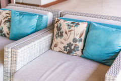 Closeup of modern furniture with pillows . Royalty Free Stock Photography