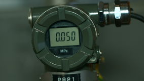 Closeup Modern High-tech Digital Pressure Meter stock video footage