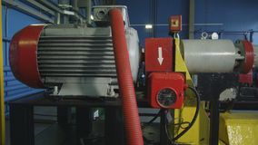 Modern Powerful Compressor at Gas Pipeline Closeup. Closeup modern powerful compressor with tubes at gas pipeline in large refinery plant workshop stock video footage