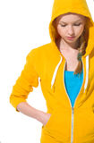 Closeup on modern teenager girl in sweater. With draped hood Royalty Free Stock Image