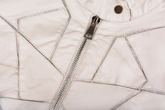 Closeup of modern white ladies` leather jacket.  Royalty Free Stock Photography
