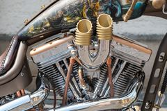 Closeup Customised Motorcycle Engine stock photography