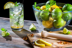 Closeup of mojito drink with citrus and ice Royalty Free Stock Photo