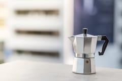 Closeup mokapot coffee with sunset royalty free stock photo