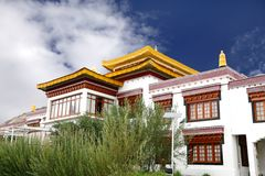 Closeup of the Monastery at Druk White Lotus school campus Leh. Monastery inside Druk white Louts school also called as rancho school stock photo