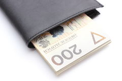 Closeup of money in wallet on white background Stock Image