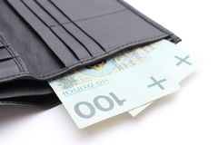 Closeup of money in wallet on white background Royalty Free Stock Photos