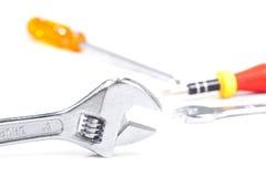 Closeup of monkey wrench. stock photos