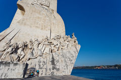 Closeup of The Monument to Discoveries in Lisbon harbor Royalty Free Stock Image