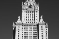 Closeup of Moscow State University city background. Hd vertical orientation vivid vibrant black white bright spacedrone808 rich composition design concept royalty free stock photos