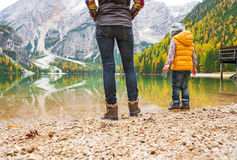 Closeup on mother and baby walking on lake braies Royalty Free Stock Images