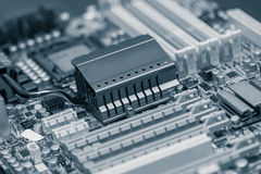 Closeup of mother board, toned Stock Image
