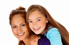 Closeup mother piggyback daughter. royalty free stock photography