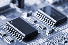 Closeup of a motherboard royalty free stock images