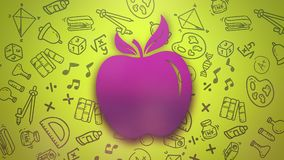 Closeup motion of school elements, education background with apple royalty free illustration