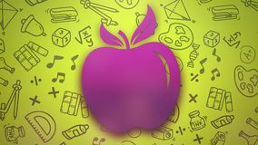 Closeup motion of school elements, education background with apple vector illustration