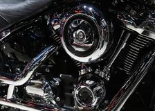 Closeup of a motorcycle engine stock photo