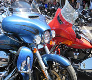 Closeup of Motorcycles, Sturgis, SD, motorcycle rally. Riders, pedestrians and motorcycles on the street during the Sturgis, South Dakota 77th Annual Motorcycle Stock Photography