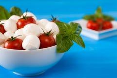 Closeup of mozzarella, cherry tomatoes and basil in a bowl Stock Photos
