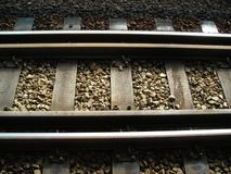 Closeup MRT Train Tracks. Detailed Royalty Free Stock Photo