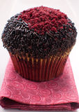 Closeup muffin with sprinkles and red sugar Stock Image
