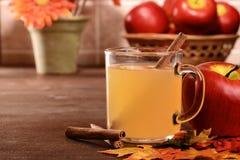 Closeup mug of apple cider with cinnamon stick stock photos