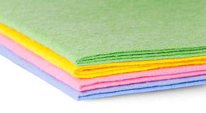 Closeup multicolored cleaning cloths Royalty Free Stock Photography