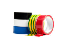 Closeup of multicolored insulating tapes Stock Image