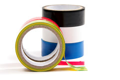 Closeup of multicolored insulating tapes Royalty Free Stock Photography