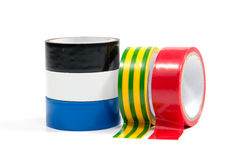Closeup of multicolored insulating tapes Stock Photo