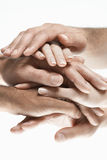 Closeup Of Multiethnic Stacked Hands Stock Photo