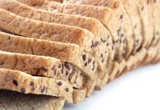 Closeup of multigrain bread slices with flaxseeds Royalty Free Stock Photography