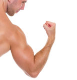 Closeup on muscular man showing biceps Royalty Free Stock Photo