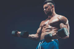 Closeup of a muscular young man lifting dumbbells weights on dar Royalty Free Stock Photo