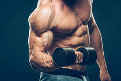 Closeup of a muscular young man lifting dumbbells Royalty Free Stock Images