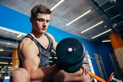 Closeup of a muscular young man lifting weights in the gym. royalty free stock photography