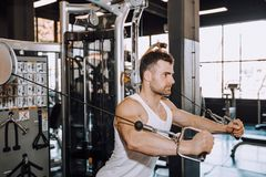 Closeup of a muscular young man lifting weights. Image royalty free stock images