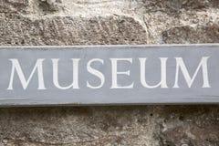 Closeup of Museum Sign Stock Images