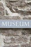 Closeup of Museum Sign Stock Photography