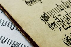 Closeup of musical notes sheet Stock Photos