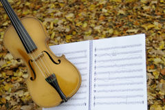 Closeup with musical sheet and violin. Violin and musical sheet isolated in fall season , leaves in background Royalty Free Stock Photo