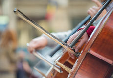 Closeup of musicians hands playing on a contrabass Royalty Free Stock Photo