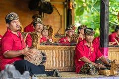 Closeup of Musicians at Sahadewa Barong Dance Studio in Banjar Gelulung, Bali Indonesia stock photo
