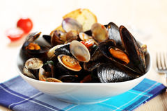 Salad with mussels and clams with tomato sauce Stock Image