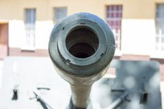 Closeup of a muzzle brake - cannon barrel Royalty Free Stock Photo